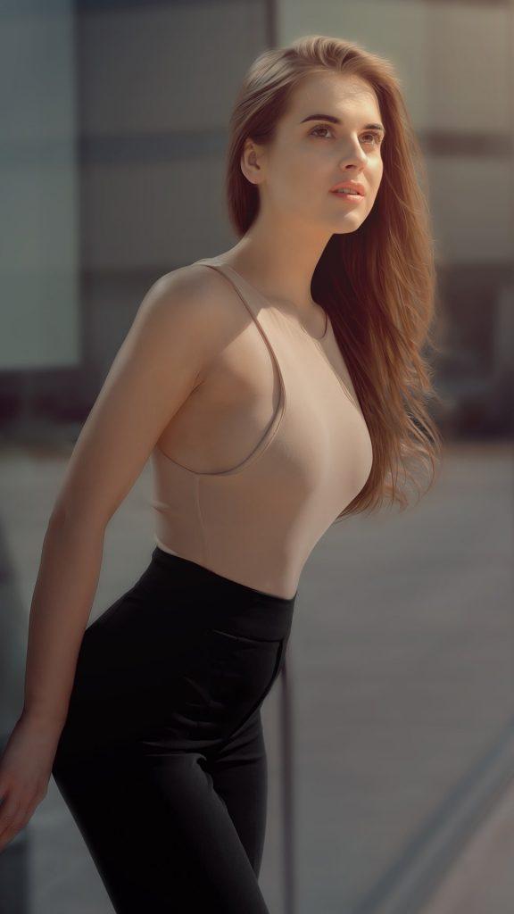 Hot girl standing outside