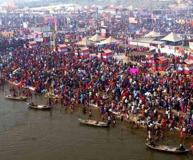 मौनी अमावस्या पर संगम तट पर लगी भक्तों की भीड़ बड़े-बड़े साधु संत किया स्नान