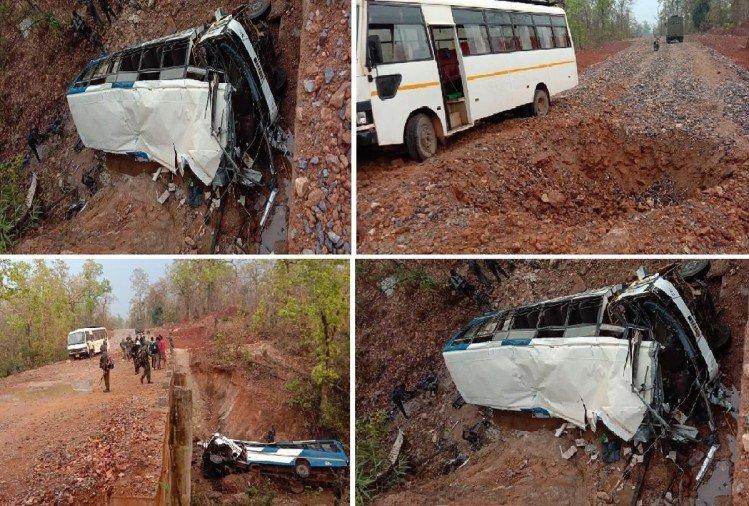 Chhattisgarh में नक्सली हमला:नारायणपुर में पुलिस जवानों की बस को IED ब्लास्ट कर उड़ाया; 5 जवान शहीद, 14 घायल