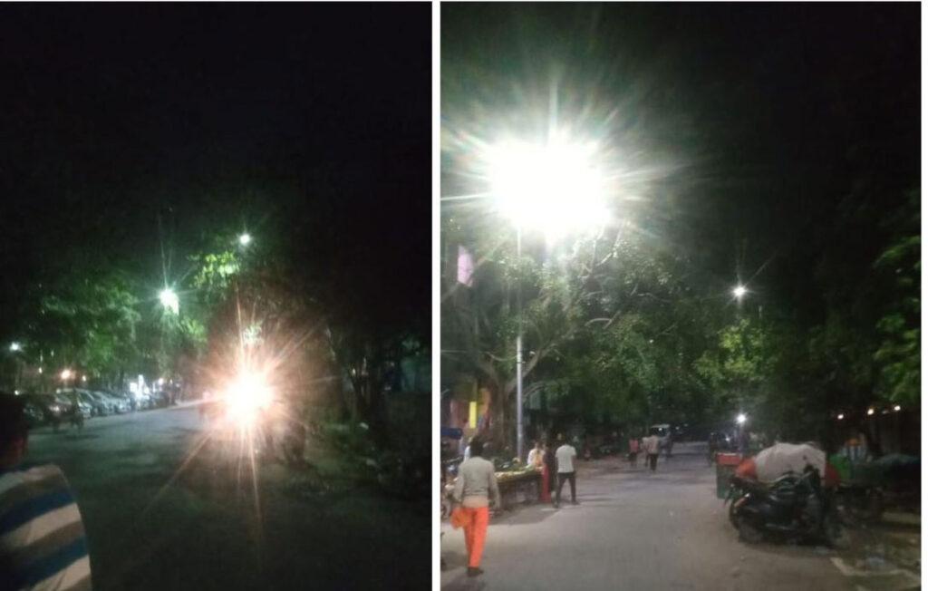 हसनपुर के सेवा बस्ती में फन वैली स्कूल के सामने की रोड कई दिनों से अंधेरे में थी, इसे ठीक करा दिया गया है (Aparna Goel निगम पार्षद)